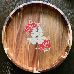 Double Happiness on Tray for Wedding Tea Ceremony - Commission