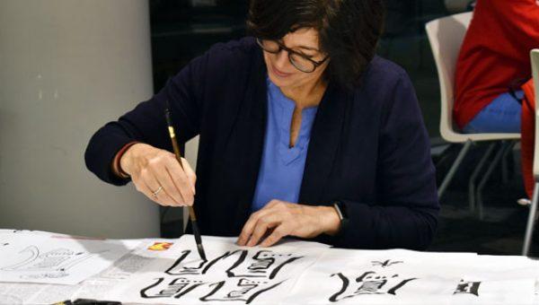 Rayna Lo Northeastern University Chinese calligraphy workshop