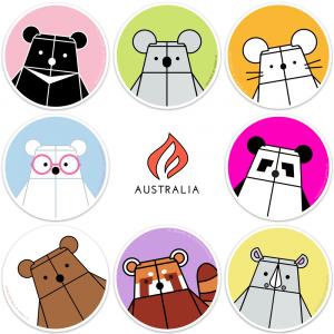 Bear Mindful & Friends Sticker Set for Australia by Rayna Lo