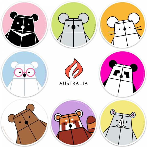 Bear Mindful & Friends Sticker Set for Australia by Rayna Lo