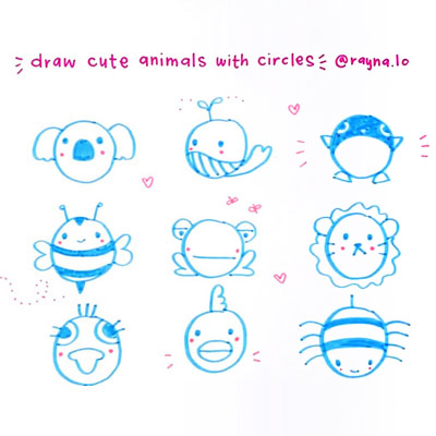 How to Draw Cute Animals with Circles by Rayna Lo