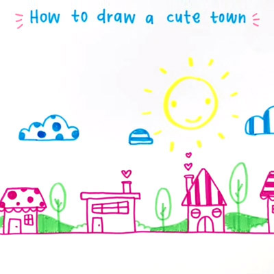 How to Draw a Cute Town by Rayna Lo