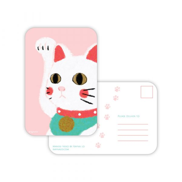 Maneki Neko postcard by Rayna Lo