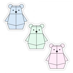 Mini Pastel Bearbot sticker set by Rayna Lo