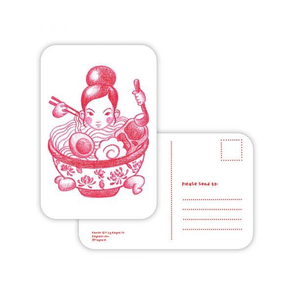 Ramen Girl Postcard by Rayna Lo