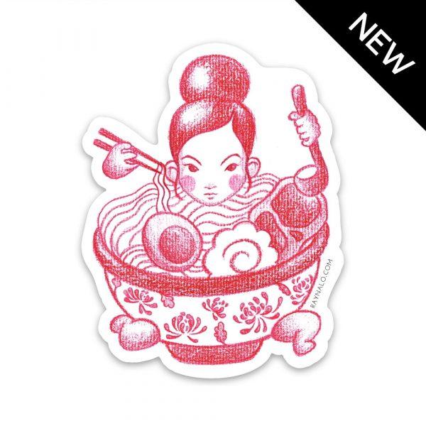 Ramen Girl Sticker by Rayna Lo