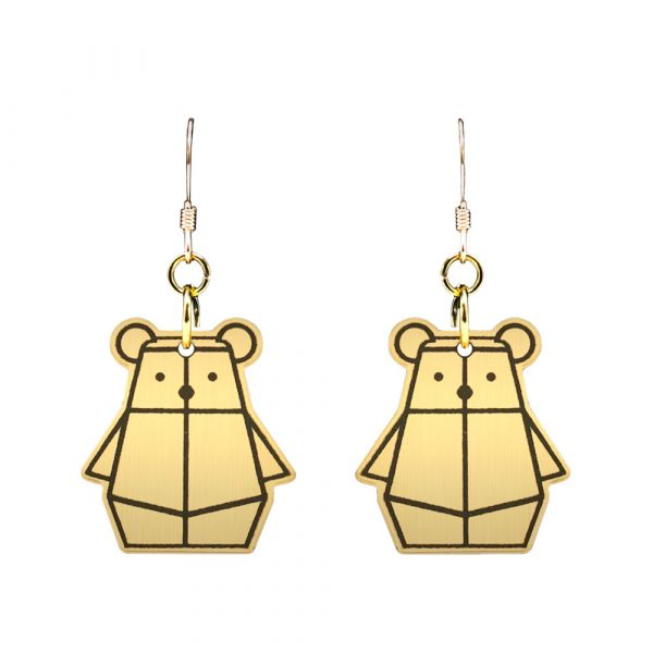 Gold on Black Bear Mindful Earrings by Rayna Lo in Collaboration with And Studio