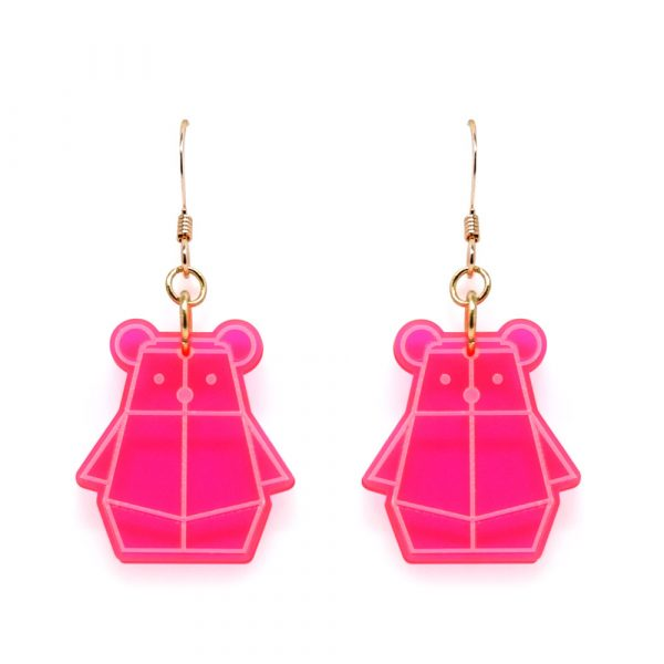 Fluorescent Pink Bear Mindful Earrings by Rayna Lo in Collaboration with And Studio