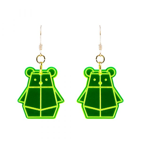 Fluorescent Green Bear Mindful Earrings by Rayna Lo in Collaboration with And Studio