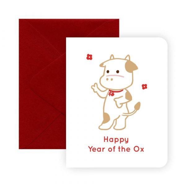 Year of the Ox Lucky Greeting Card by Rayna Lo