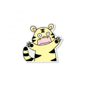 Cabbage the Tiger acrylic pin by Rayna Lo