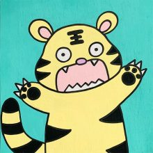Cabbage the Tiger is one of my character designs and was inspired by of my favorite animals. The stripes on the tiger's head resemble the 王 character in Chinese. 王 means king (or queen) and therefore, tigers are sometimes known as the king of animals in Chinese culture.